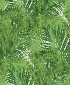 Cora Green Palms Wallpaper-palm print pops against a crisp white background, while its layered effect creates a dimensional look.