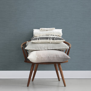 Colicchio Blue Linen Texture Wallpaper-blue with metallic undertones.  hung on wall