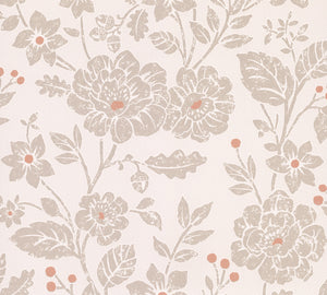 Bourdain Light Brown Floral Wallpaper-Its light brown and orange floral pattern with cream background with shimmering micca details.