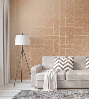 Ina Rose Geometric Wallpaper-this geometric rose hue design shines with silver glitter.  hung in living room