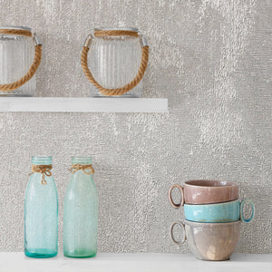 Sanchez Silver Texture Wallpaper-Its brilliant textured design softly shimmers with silver glitter.  hung in kitchen