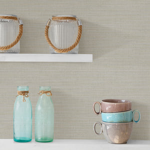 Colicchio Cream Linen Texture Wallpaper- natural hue has raised ink details and shimmering mica accents.  hung in kitchen