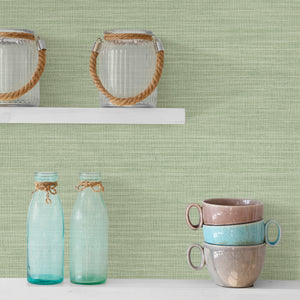 Colicchio Light Green Linen Texture Wallpaper-green wallpaper has the look of linen with soft raised inks and metallic details.  hung in kitchen