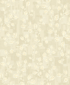 Child Cream Leaf Patchwork Wallpaper-in neutral distressed accents and patchwork designed background.