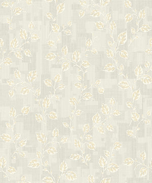 Child Grey Leaf Patchwork Wallpaper-Distressed cream leaves with yellow accents curl about a patchwork designed background raised ink on grey background.