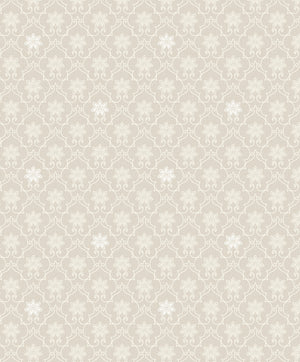Heston Eggshell Trellis Wallpaper-The eggshell background and white print are accented by subtle silvery details.