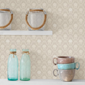 Heston Eggshell Trellis Wallpaper-The eggshell background and white print are accented by subtle silvery details.  hung in the kitchen