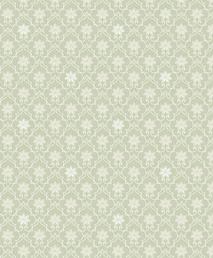 Heston Light Green Trellis Wallpaper-subtle silvery accents and floral motifs, its white geometric design glides across a light green background.