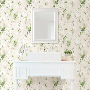 Turner Cream Watercolor Floral Wallpaper-Beautiful white flowers blossom against a cream background with its pearlescent sheen and watercolor style.  hung on wall around vanity