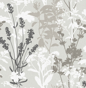 Pippin Grey Wild Flowers Wallpaper-This earthy design has a contemporary flair with grey, taupe, black and white hues.