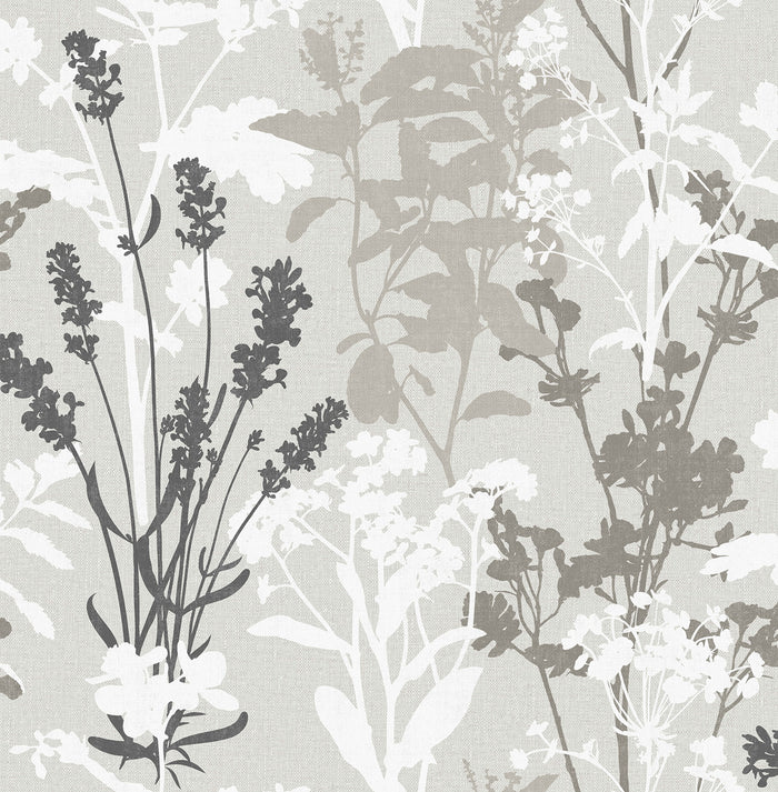 Pippin Grey Wild Flowers Wallpaper
