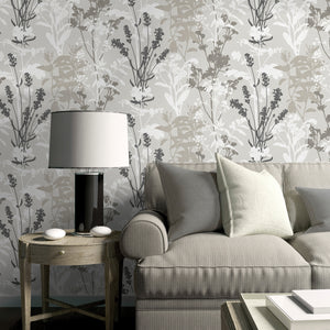 Pippin Grey Wild Flowers Wallpaper-This earthy design has a contemporary flair with grey, taupe, black and white hues.  hung in living room