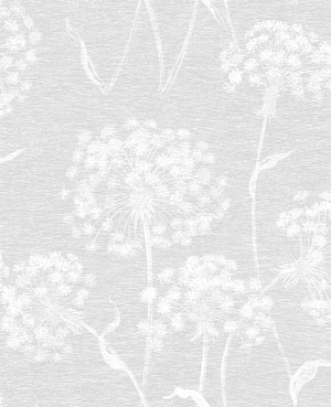 Garvey Light Grey Dandelion Wallpaper-white dandelion wallpaper. Its distressed design and light grey hue lend to its modern feel.