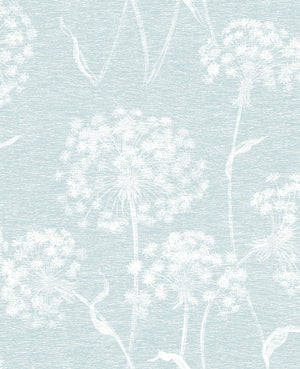 Garvey Light Blue Dandelion Wallpaper-Its slightly distressed design has a textured look, while a light blue hue lends to its calming feel.