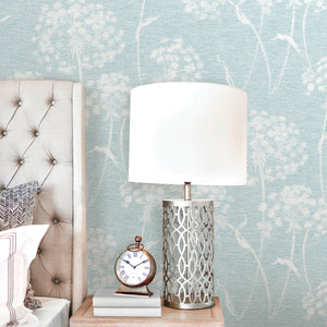 Garvey Light Blue Dandelion Wallpaper-Its slightly distressed design has a textured look, while a light blue hue lends to its calming feel.  hung in bedroom