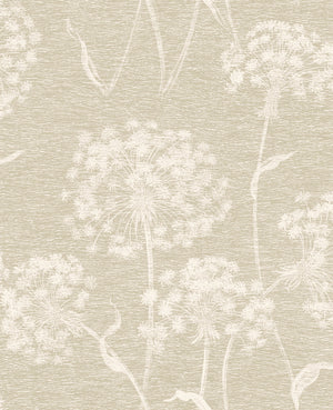 Garvey Taupe Dandelion Wallpaper-With a light taupe hue and dandelion print, this wallpaper has an earthy feel. Its distressed design creates a dimensional look.