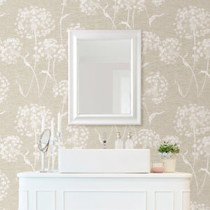 Garvey Taupe Dandelion Wallpaper-With a light taupe hue and dandelion print, this wallpaper has an earthy feel. Its distressed design creates a dimensional look.  hung around vanity