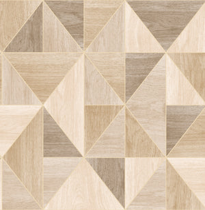 Simpson Light Brown Geometric Wood Wallpaper-Dazzling triangles are framed by shimmering silver accents, creating a chic light brown design.