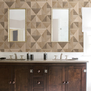 Simpson Light Brown Geometric Wood Wallpaper-Dazzling triangles are framed by shimmering silver accents, creating a chic light brown design.  hung in bathroom