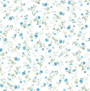 Catlett Blue Floral Toss Wallpaper-Darling blue flowers with leafy green stems are scattered across a white background with a watercolor design