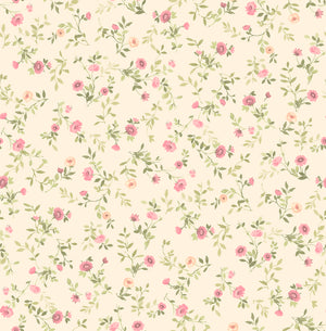Catlett Pink Floral Toss Wallpaper-toss wallpaper has a watercolor style. Precious pink and peach flowers with curling green vines blossom against a cream background.