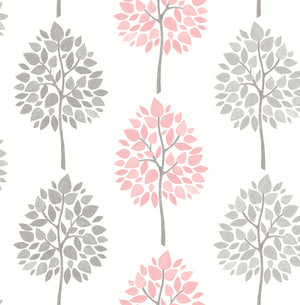 Saar Pink Tree Wallpaper-Stripes of pink and grey trees waltz across an off-white background in this nature inspired print. Their hand painted design lends to a Scandinavian look.