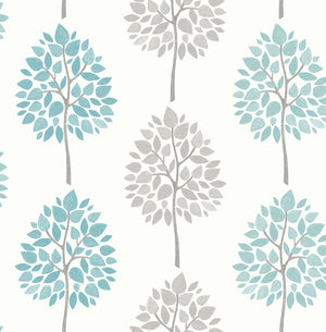 Saar Aqua Tree Wallpaper-hand painted design, this tree wallpaper has a Scandinavian style. Their aqua and light grey leaves pop against an off-white background.