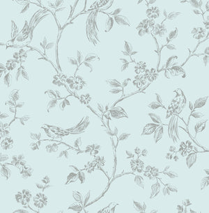 Advantage Aaron Light Blue Bird Trail Wallpaper-SKU#2814-24975- Charming birds perch upon flowering branches in this whimsical design. Its grey print effortlessly complements a light blue background.