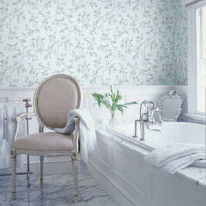 Advantage Aaron Light Blue Bird Trail Wallpaper-SKU#2814-24975- Charming birds perch upon flowering branches in this whimsical design. Its grey print effortlessly complements a light blue background. hung in bathroom