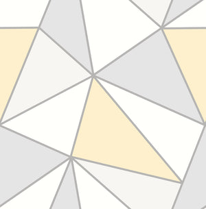 Apex Yellow Geometric Wallpaper-geometric wallpaper. It has white, light yellow and grey triangles which are framed by silver accents.