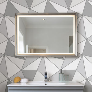 Apex Grey Geometric Wallpaper-Large white and grey triangles make up this stunning geometric design. Complete with silvery details. hung in bathroom