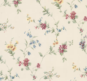 Marcus Cream Floral Trail Wallpaper-vibrant jewel tones. With its blossoming maroon, yellow and blue flowers popping against a cream background.