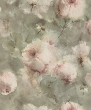 Innocent Light Brown Watercolor Floral Wallpaper-Pink flowers peek through a hazy light brown background. Its water colored design is accented by subtle sage hues and textured details.