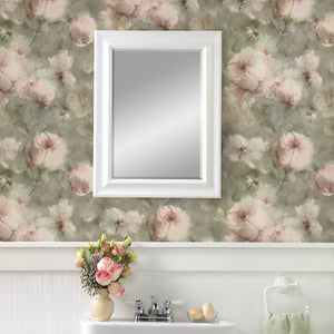 Innocent Light Brown Watercolor Floral Wallpaper-Pink flowers peek through a hazy light brown background. Its water colored design is accented by subtle sage hues and textured details.   hung on wall over sink