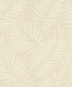 Edomina Beige Palm Wallpaper-vory palm fronds twirl against a light beige background with a pearlescent sheen.