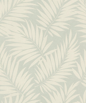 Edomina Teal Palm Wallpaper-Cream palm fronds float across a light teal background, while its linen inspired design adds a tropical touch.