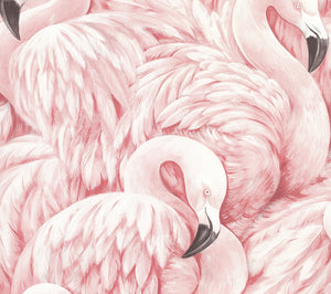 Horace Light Pink Flamingos Wallpaper-vibrant pink and cream hues will make your bathroom pop, while its hand painted design adds to its unique style.