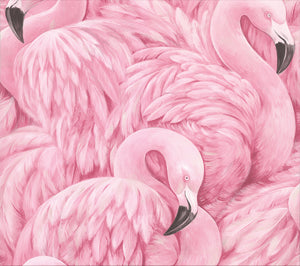 Horace Pink Flamingos Wallpaper-vibrant flamingo print has a hand drawn style.