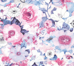 Baldwin Purple Watercolor Floral Wallpaper-Its watercolor style is accented by dreamy lavender, purple and pink hues.