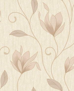 Gallagher Champagne Floral Trail Wallpaper-textured design shimmers with gold glitter and a pearlescent sheen.