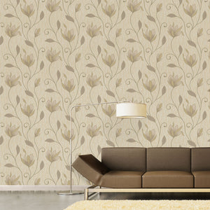 Gallagher Champagne Floral Trail Wallpaper-textured design shimmers with gold glitter and a pearlescent sheen. hung in living room