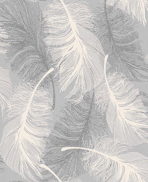 Hurston Grey Feather Wallpaper-Fluffy taupe and white feathers float across a pale grey background.  Its embossed design softly shimmers with silver glitter accents.
