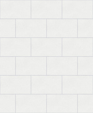 Neale White Subway Tile Wallpaper-shimmers with glitter details and a pearlescent sheen while its white hue lends to its clean and fresh look.