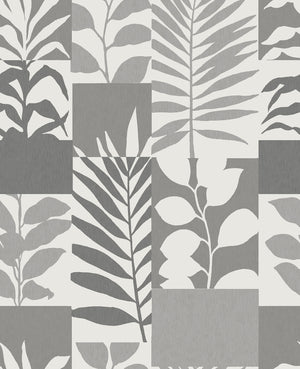 Hammons Silver Block Botanical Wallpaper-Silhouettes of leaves complement the modern block design, with silver and cream hues