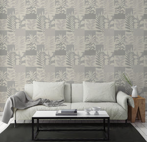 Hammons Silver Block Botanical Wallpaper-Silhouettes of leaves complement the modern block design, with silver and cream hues.  hung in bedroom