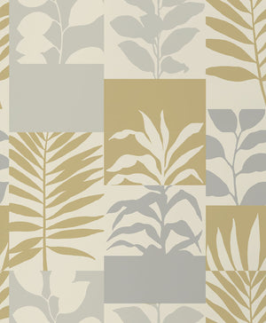 Hammons Gold Block Botanical Wallpaper-features a variety of leaves in gold and silver hues,  Its textured block design is accented by glittering details.