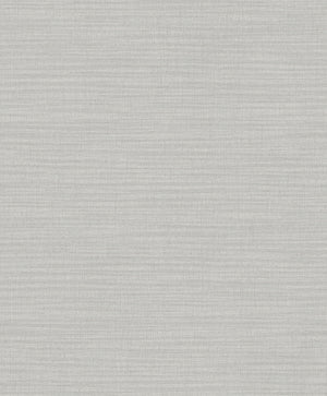 Zora Light Grey Linen Texture Wallpaper (2814-MKE-3110) The interplay of beige and light grey hues creates a neutral wallpaper with soft shimmering accents.