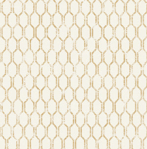 Elodie Gold Geometric Wallpaper-A gold geometric design shimmers against an off-white background in this fabric inspired design. Distressed accents lend to its antiquated feel.