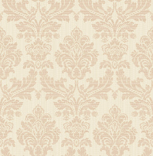 Piers Rose Gold Texture Damask Wallpaper-flowering rose gold damasks and metallic undertones with white and beige raised inks.