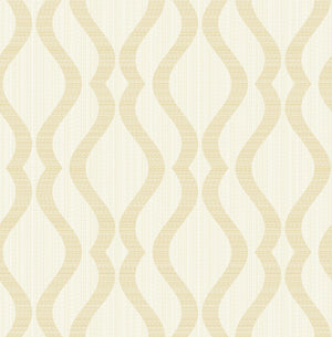 Yves Champagne Ogee Wallpaper (SKU 2834-25063) A champagne curved pattern flows across a cream background in this effortlessly chic design for your home.